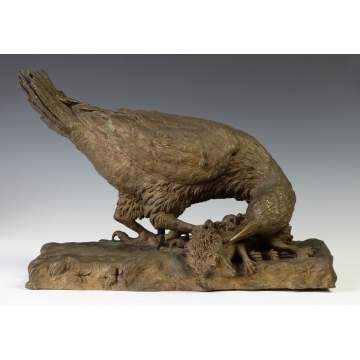 Gilded Bronze Sculpture w/Hawk & Hedgehog