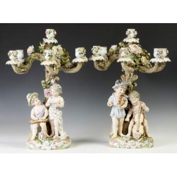 Pair of Figural Hand Painted Porcelain Candelabras