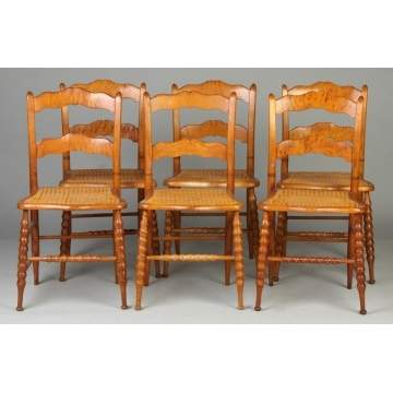 Set of 6 Curly Maple Chairs w/Cane Seats