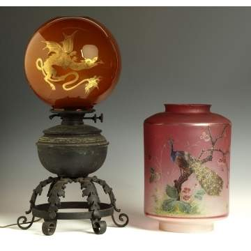 Oil Lamp & Satin Glass Shade