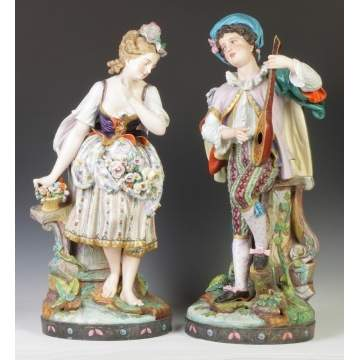Pair of Large French Hand Painted Bisque Courting Couple