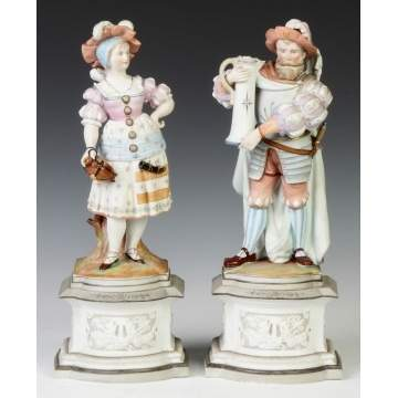 2-Piece Hand Painted Porcelain Figures on Stands
