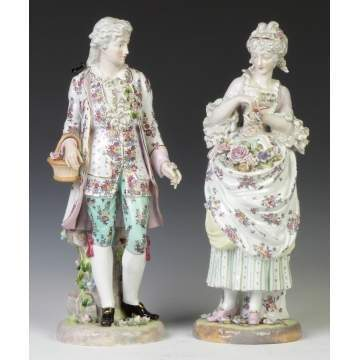German Hand Painted Porcelain Courting Couple