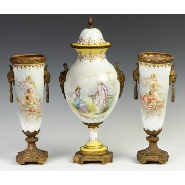 French Sevres Style Hand Painted Porcelain Garnitures & Covered Urn