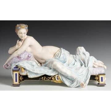 "Hand Painted Bisque Reclining Figure ""The Awakening"""