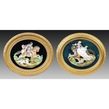 2 Continental Hand Painted Bisque Figural Plaques w/Figures & Dogs