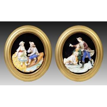 2 Continental Hand Painted Bisque Figural Plaques