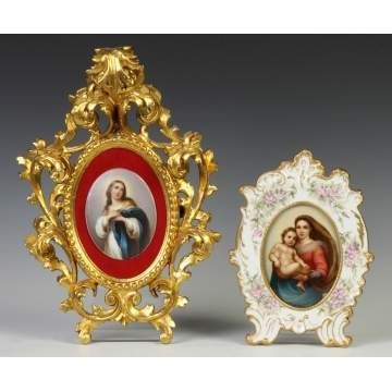 Two Painted Porcelain Plaques