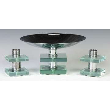 Modern Chrome & Plate Glass Candlesticks & Compote