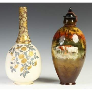Faience Vase & Doulton Covered Jar