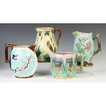 Group of 4 English Majolica Pitchers