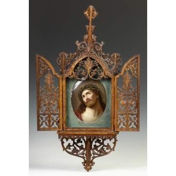 German Painted Porcelain Plaque of Christ in a Gothic Pierce Carved Walnut Frame