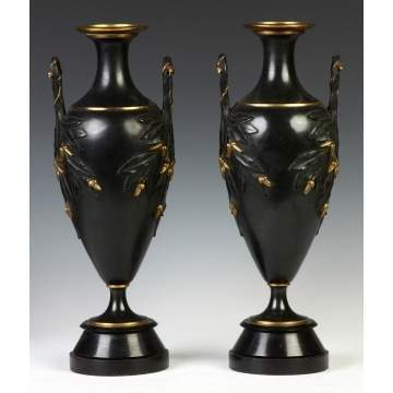 Pair of Aesthetic Victorian Patinated Bronze Urns on Slate Bases