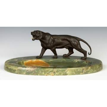 Patinaed Bronze Lion & Onyx Desk Piece