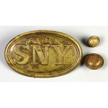 Civil War Buckle & 1860's NY Officer's Buttons