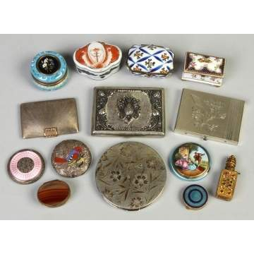 Group of Various Enameled, Porcelain & Silver Boxes