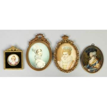 Four Miniatures on Ivory of Ladies