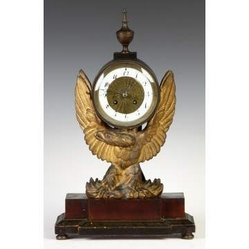 French Empire Carved & Gilded Eagle Shelf Clock