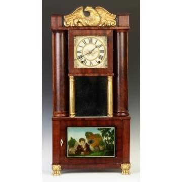 E.G.W. Bartholomew, Bristol, CT, Empire Hollow Column Shelf Clock