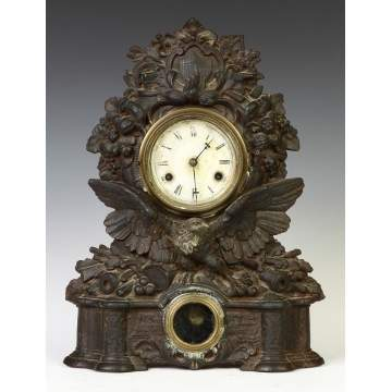Cast Iron Industry & Patriotic Motif Shelf Clock