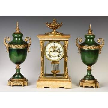 Ansonia Marble & Gilt Bronze Crystal Regulator - Cosmo Model