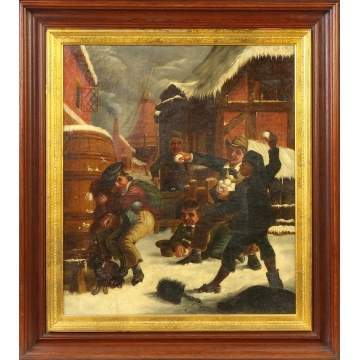 19th cent. Genre ptg. of a snowball fight