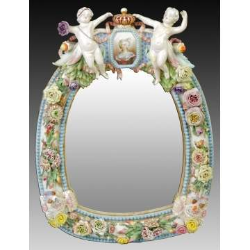 German Hand Painted Porcelain Mirror