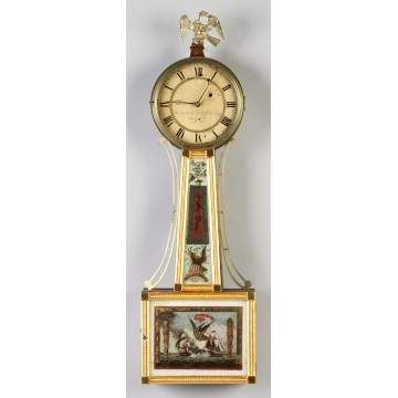 Curtis & Dunning New England Gilt Front Banjo Clock