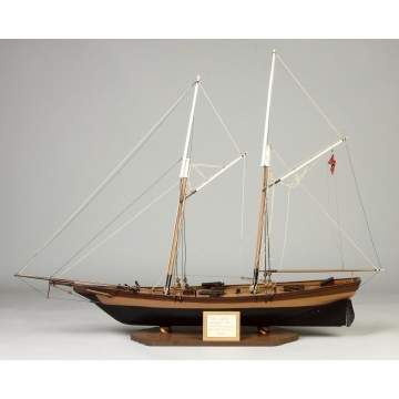 Carved & Painted Wood Ship Model
