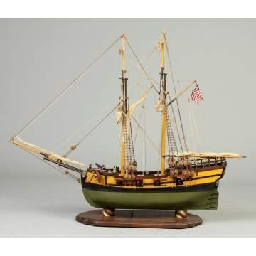 "Carved & Painted Wood Ship Model -  ""Wasp"""