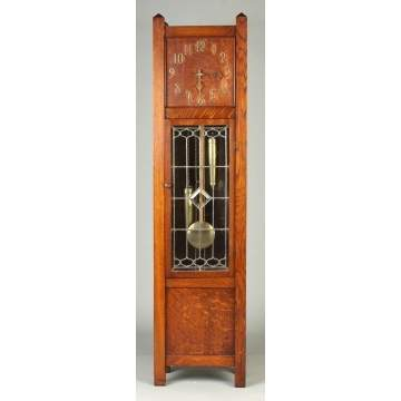 Waterbury Quarter Sawn Oak Arts & Crafts Hall Clock with Leaded glass Door