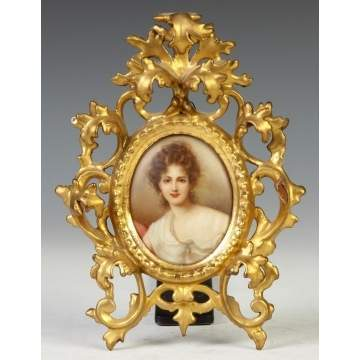 German Painting on Porcelain of a Young Lady