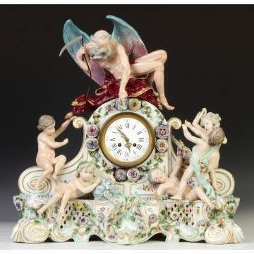 Monumental Hand Painted Porcelain Clock