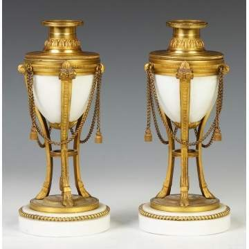 French Gilt Bronze & Porcelain Candle Holder/Urns