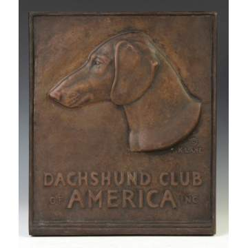 "Bronze Relief Plaque ""Daschund Club of America"""