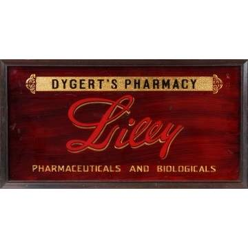 Dygert's Pharmacy Vintage Reverse Painted Sign