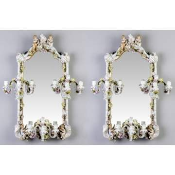 Pair of German Porcelain Candelabra Mirrors