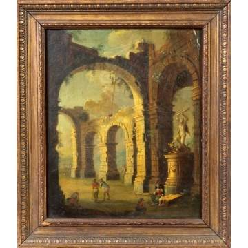 Old master's style painting of ruins