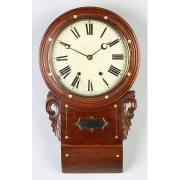 English Carved & Inlaid Walnut Gallery Clock