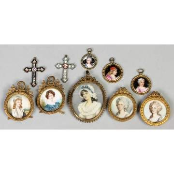 Miniatures on Ivory; Enamel Pins, Mosaic Crosses