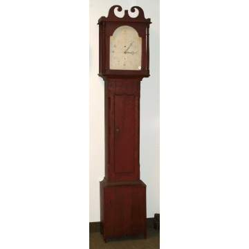 New England Painted Pine Tall Case Clock