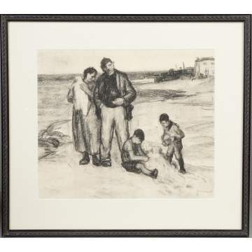 George Renouard (American, 1885-1954) Family on beach