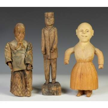 Three Carved Primitive Figures