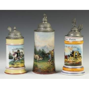 Three German Porcelain Lithophane Steins