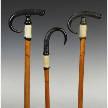 Three Goat Horn & Hoof Mountain Climbing Canes
