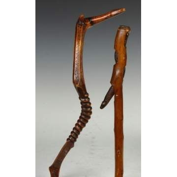 Two Carved Wood Snake Canes