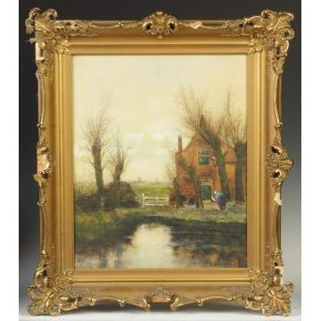 A.G. Kennedy painting, Cottage by stream