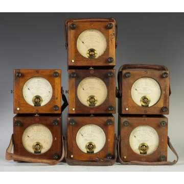 Group of Seven Chauvin & Arnoux Ohms Meters