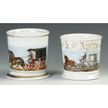 Two Vintage Horse Drawn Carriage Occupational Shaving Mugs