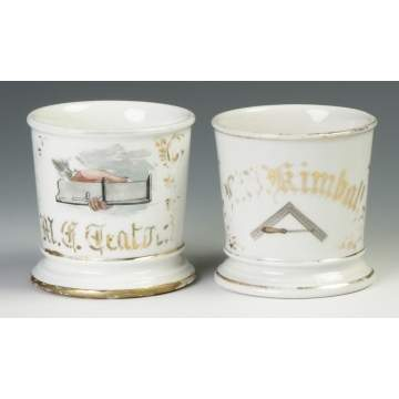 Two Vintage Carpentry Occupational Shaving Mugs